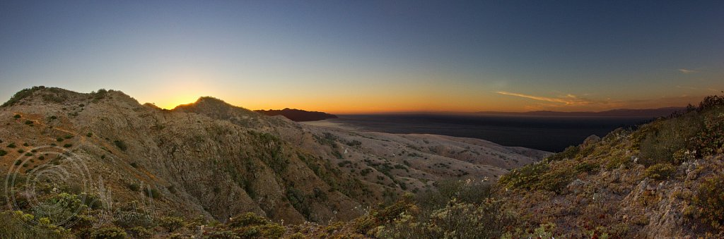 California sunset over Santa Cruz Island